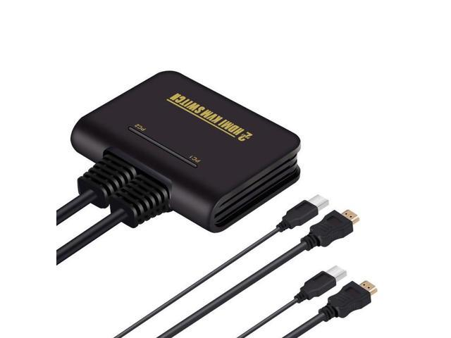 HDMI KVM Switch 2 Port with Cables for Keyboard Mouse Monitor Sharing
