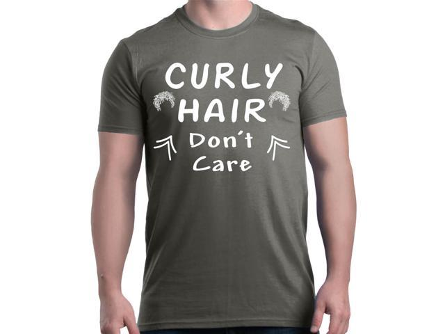 91f27c07 Shop4Ever Men's Curly Hair Don't Care Funny Graphic T-shirt Small Charcoal