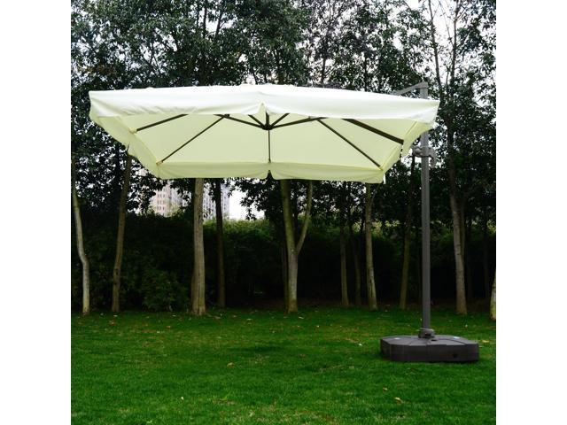 Outsunny 10 X10 Square Offset Tilt Patio Umbrella Garden Parasol Outdoor Sun Shade Canopy