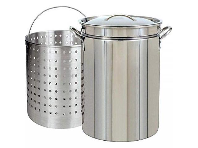 CONCORD Stainless Steel Stock Pot w// Steamer Basket Boiling Steaming Cookware