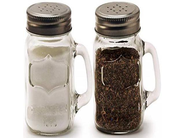 5 oz 2-Piece Set Kitchen Glassware Preserving Containers Circleware 66734 Glass Mini Mason Jar Mug Salt and Pepper Shakers with Handles /& Metal Lids Yorkshire Perfect Himalayan Seasoning Spices