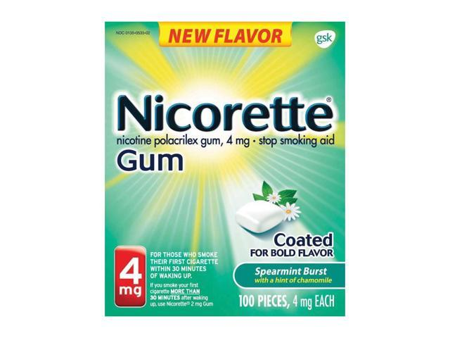 Nicorette Nicotine Gum Spearmint Burst 4mg 100ct Stop Quit Smoking Craving  Aid - Newegg com