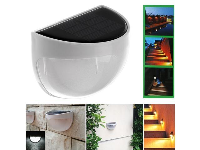 2PCS Solar Powered 4-LED Wall Lights Gutter Fence Outdoor Garden Waterproof Lamp