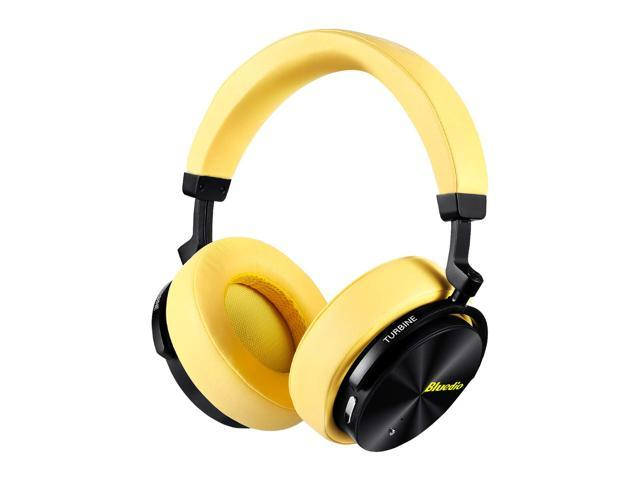 Bluedio T5 Bluetooth Headphones Active Noise Cancelling Headphones Over Ear Wireless Bluetooth Headphones With Mic Portable Stereo Headsets For Cell Phones Travel Work Black Yellow Newegg Com