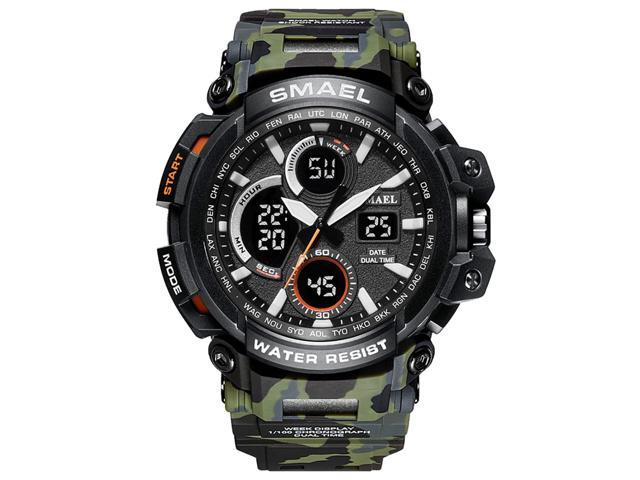 SMAEL Mens Sports Analog Quartz Watches Dual Display Digital Watches LED Backlight Waterproof Military Multifunctional Green