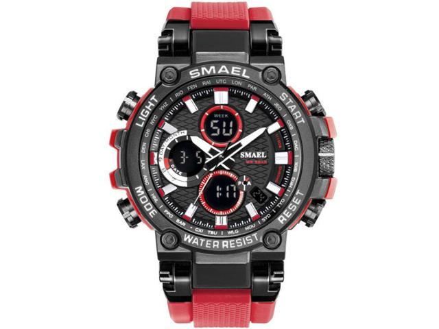 Smael 1803 Men Sports Watches Dual Display Analog Digital Led Electronic Quartz Wristwatches Waterproof Swimming Military Watch Black Red Newegg Com