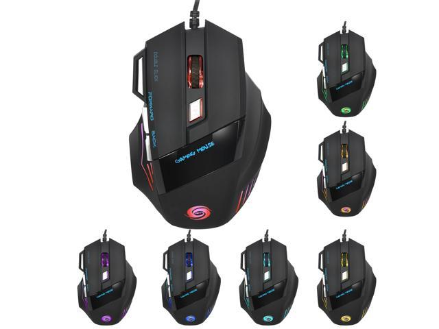 HYSJ A868 Gaming Mouse Wired, 5500 DPI Adjustable, Optical Gamer Gaming  Mice with 7 Breathing Lights, Comfortable Grip Ergonomic Optical PC  Computer