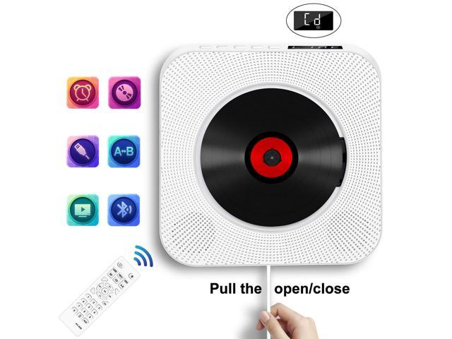 Wanmingtek Portable Bluetooth CD Player, Wall Mountable CD Player Built in HiFi Speakers with Remote for Music Player Support FM Radio USB Playing