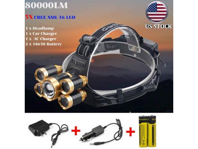 80000LM Cree 5x XML T6 LED Rechargeable 18650 Headlamp Head Light Torch  Lamp USA - Newegg com