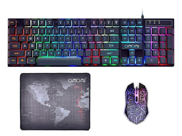 Mechanical Feel LED Backlit USB Ergonomic Gaming Keyboard+Gamer Mouse+Mouse Pad