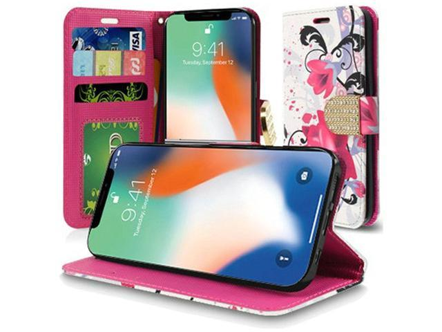 separation shoes c129b 184d8 Apple iPhone XS Max Case, by Insten Lily Stand Book-Style Leather [Card  Slot] Wallet Flap Pouch Case Cover With Diamond For Apple iPhone XS Max, ...