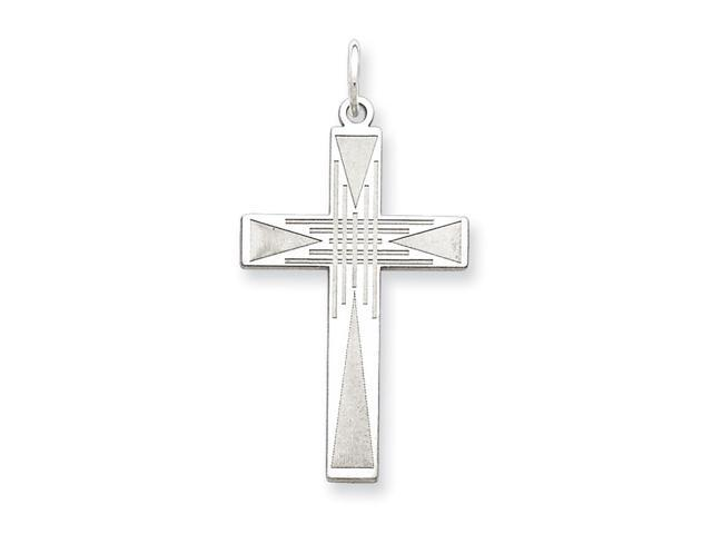925 Sterling Silver Solid Polished Laser Etched Laser Designed Cross Pendant