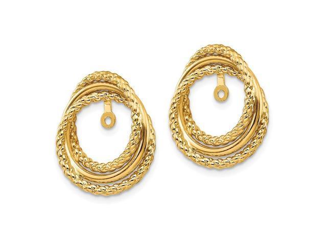 14K Yellow Gold Polished /& Twisted Fancy Earring Jackets