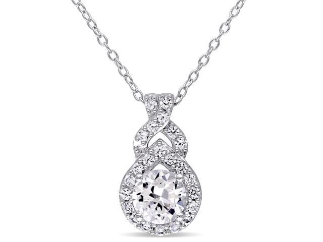 Created Synthetic White Sapphire 1 4/5 Carat (ctw) Pendant Necklace in  Sterling Silver - Newegg com