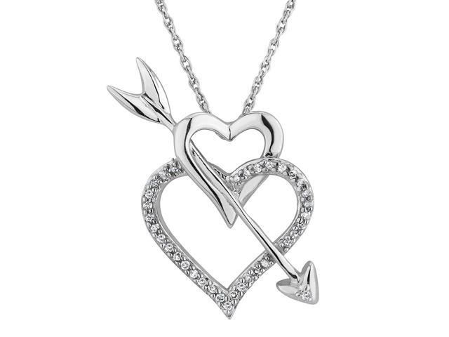 gem  u0026 harmony double heart and arrow pendant necklace 1  10 carat  ctw  in sterling silver with
