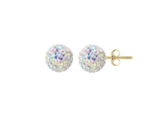 14k Gold 7 5mm Pave Crystal Ball Stud Earrings Made With Swarovski Elements Newegg
