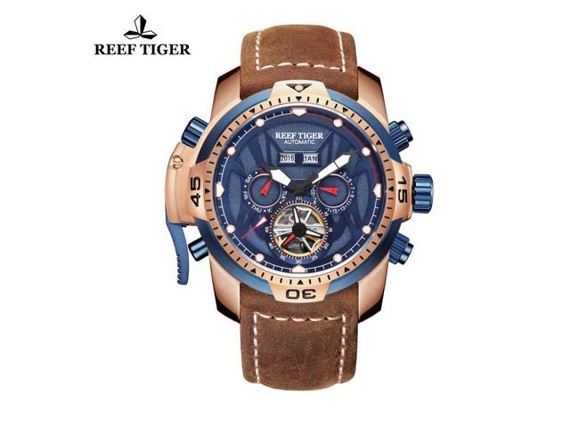 Reef Tiger Men S Military Watches Rose Gold Tone Complicated Blue