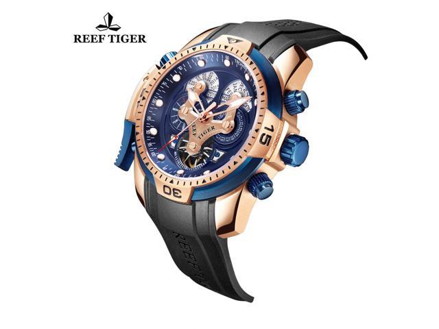 Tiger Automatic Mens Watch Rga3503 Sport Black Blue Reef Rubber Rose Gold R3jLq54A