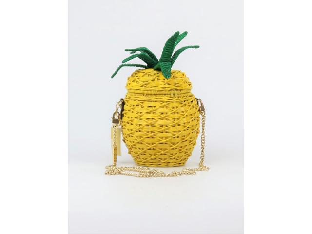 Michael Kors Magnetic Snap Closure Straw Pineapple