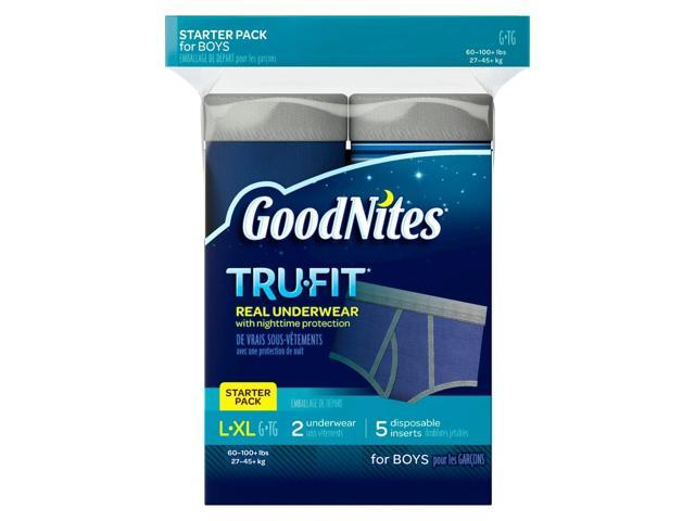 GoodNites TruFit Bedwetting Starter Pack for Boys, Large/Extra Large, 2 Pants and 5 Inserts, 7 Count