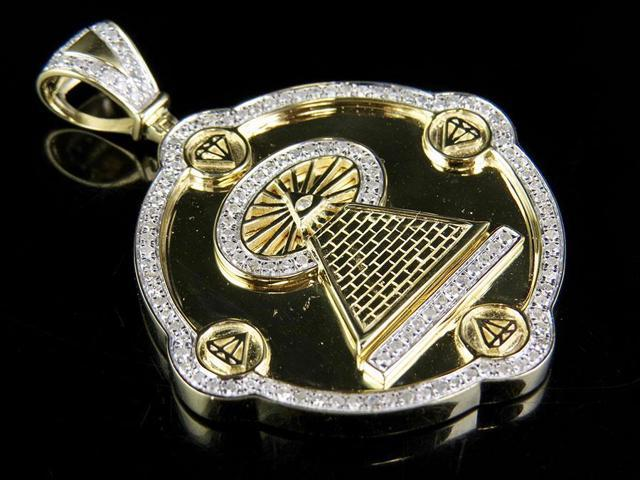 Diamond 10K Yellow Gold Finish Real 0.33CT Lord Buddha Silver Pendant