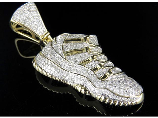 Men's 10K Yellow Gold Real Diamond Jordan Jumpman Shoe Pendant 3.0ct