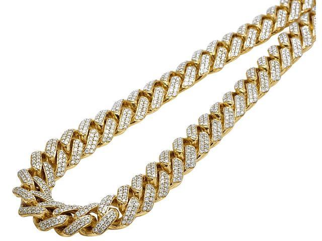 Mens 10k Yellow Gold Miami Cuban Chocker Big Lock Diamond Necklace Chain 13mm 22 Newegg Com