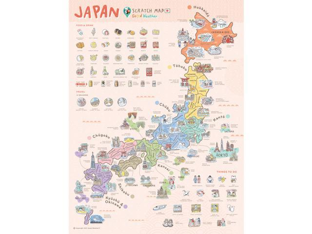 Weather Travel Map Good Weather Premium Unique Design Japan Scratch Off Travel Map