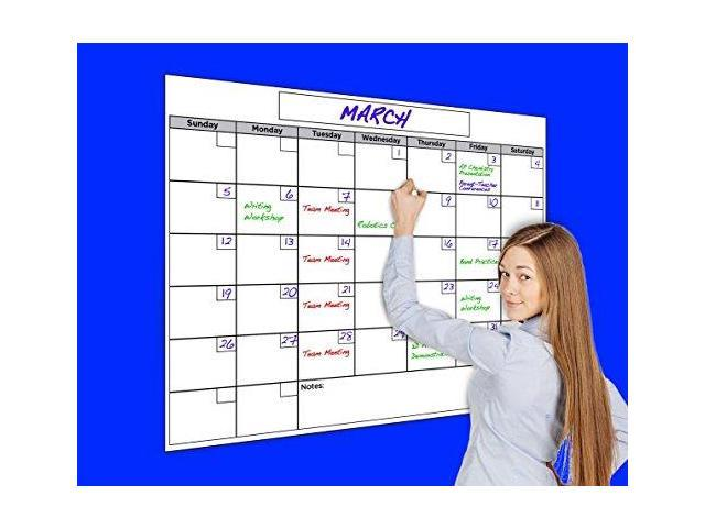 Usi Calendar.Usi Large Dry Erase Wall Calendar 36 X48 Wipes 100 Clean Never Leaves Marker Stains Newegg Com