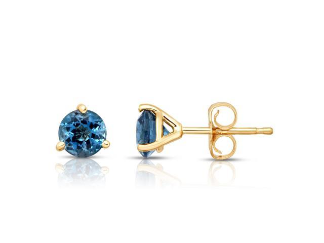 14K Yellow Gold Radiant Cut 2.25 Carats London Blue Topaz Stud Earrings