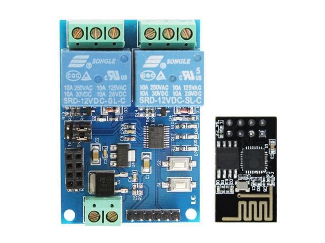 12V ESP8266 ESP-01 2 Channel WiFi Relay Module For IOT Smart Home Phone APP  Controller Onboard ESP01 - Newegg com