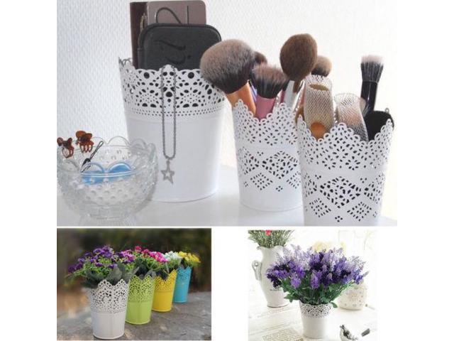 1pcs Cute Lace Floral Plant Flower Vase Pot Pen Makeup Brush Storage Boxes Bin Holder Desk Organizer Case Container Cases Newegg Com