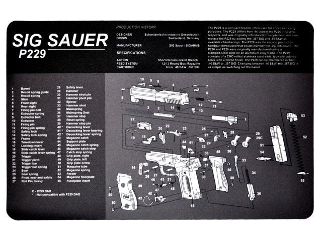 Sig Sauer P229 Handgun Protective Work Bench Cleaning Mat with Exploded  Parts Diagram and Assembly Instructions - Newegg com
