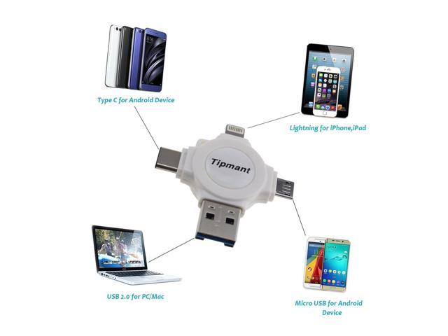 Card Reader + 128GB TF Card, White PC Micro USB, Type C Tipmant Compatible for iPhone iPad 4 IN 1 USB Flash Drives Memory Stick for Android Cell Phone