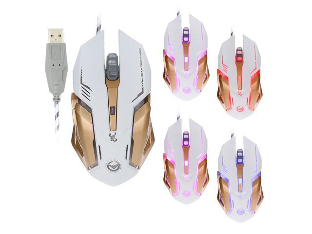Length 1.8m USB 6-Keys 2400DPI Four-Speed Adjustable Backlight Wired Optical Gaming Mouse Color : White