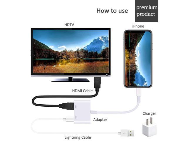 iPad on HD TV//Monitor//Projector Support All iOS 1080P Digital AV Adapter Sync Screen Connector Compatible with iPhone Apple Lightning Digital AV Adapter, Apple MFi Certified Power Supply Needed