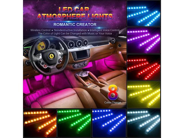 Estone Car Led Strip Light Ej S Super 4pcs 36 Multicolor Music Interior Under Dash Lighting Kit And Wireless Remote Control