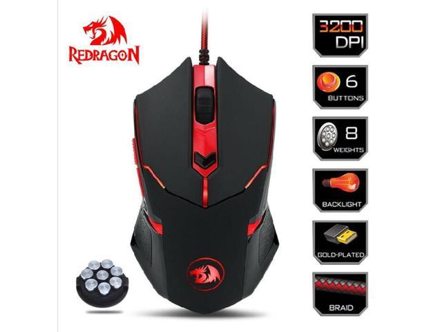 Redragon M601 3200 DPI Gaming Mouse Mice 6 Buttons Adjustable Weight Computer
