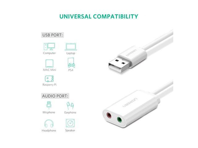 ESTONE USB Audio Adapter External USB Sound Card 3 5mm Headphone Earphone  Adapter Aux Audio Card for Microphone Speaker PUBG Computer Sound  Card-White