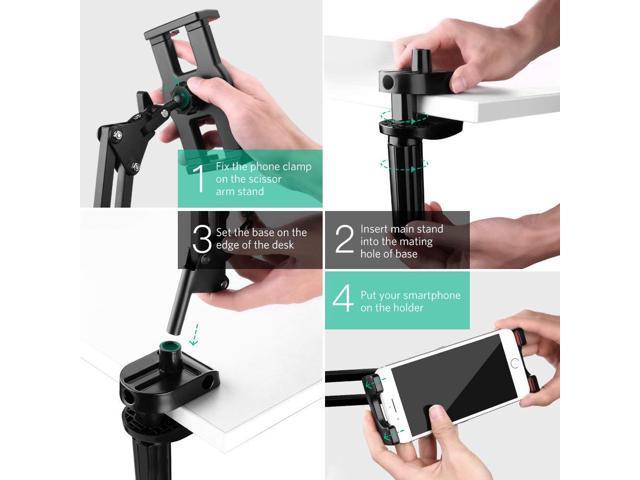 ESTONE Tablet Mount Lazy iPad Holder Universal Long Arm Mobile Phone  Bracket, Flexible Gooseneck Clamp Stand for Live Stream, Desk, Bed,  Kitchen,