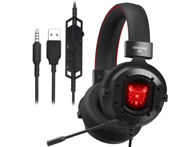 Onikuma K3 Gaming Headset For Xbox One Ps4 Pc Laptop Nintendo Switch Mobile Phones With Noise Isolation Color Led Ligh Bass Surround Stereo One Key Mic Mute Omnidirectional 3 5mm Headphone Newegg Com