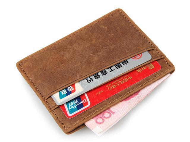 f1fd81238eab Artmi Mens Carzy Horse Leather Slim Card Holder RFID Blocking Minimalist  Wallet Front Pocket Card Case - Newegg.com