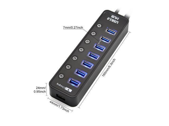 LYFNLOVE USB Hub 3.0 Splitter,7 Port USB Data Hub with Power Adapter and Chargin