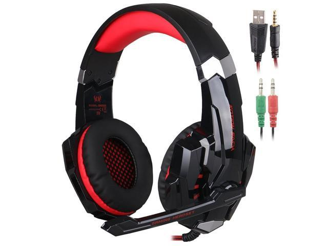 Kotion Each G9000 3 5mm Game Gaming Headphone Headset Earphone Headband With Microphone Led Light For Computer Tablet Mobile Phones Ps4 By Senhai Black And Red Newegg Com