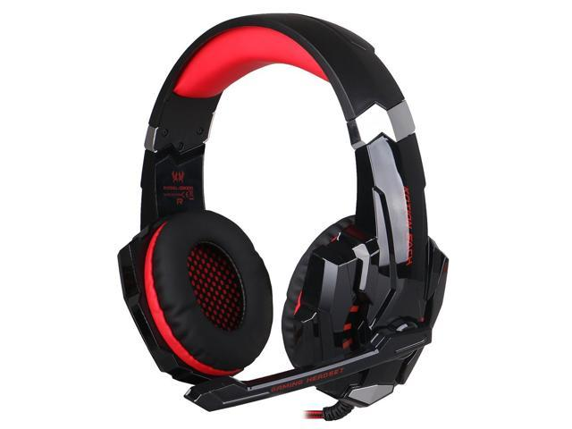 Afunta Gaming Headset For Playstation 4 Ps4 Tablet Pc Iphone 6 6s 6 Plus 5s 5c 5 3 5mm Headphone With Microphone Led Light Black Red Newegg Com