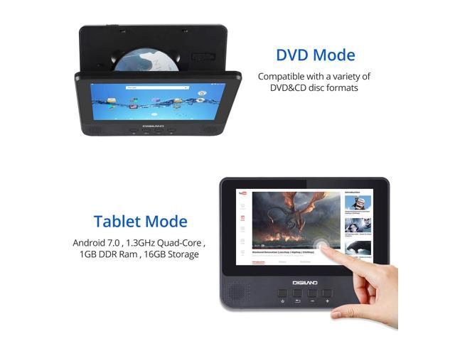 DigiLand Portable DVD Player/Android Wi-Fi Tablet Combo 9-Inch Touchscreen,  Quad-Core 1 3GHz, 16GB Storage, with Headrest Strap, AC Charger Adapter