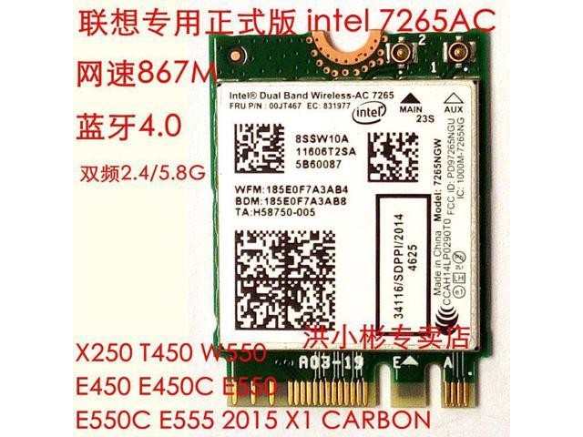 Refurbished: Lenovo T550 X250 T450 Intel 7265 AC 867Mbps Wifi + Bluetooth  4 0 NGFF Card - Newegg com