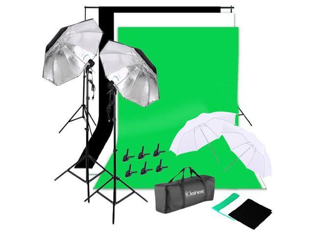 "135W Photography Lighting Kit 33"" Umbrella 3* Non-woven Backdrop Stand Set"