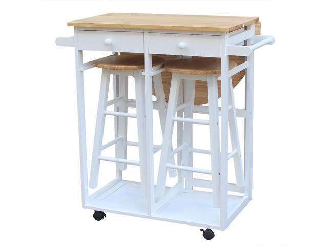 Astonishing 3Pc Wood Kitchen Island Rolling Cart Set Dinning Drop Leaf Table W 2 Stools Newegg Com Pabps2019 Chair Design Images Pabps2019Com