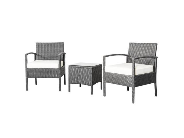 Rattan Wicker Furniture Set 3pc Cushioned Outdoor Garden Seat